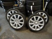 """set of 18"""" AUDI RS4 ALLOYS RECENTLY REFURBISHED GOOD TYRES ALL ROUND QUICK SALE £200 NO OFFERS"""