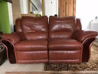 2 seater brown leather reclining sofa