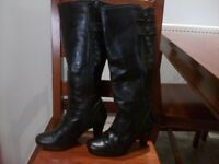 Ladies black leather knee length boots size 38