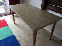 Lightweight rectangular desk/table in light birch effect with pine legs