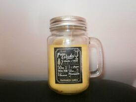 cocktail candle in a mason jar yellow