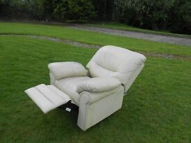Full Recliner Cream Leather Chair