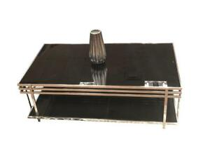 Black glass and stainless Steel coffee Table (BD-1777)
