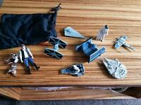 Star Wars figures and ships and rug