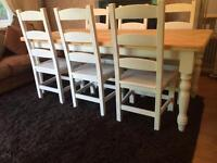 Stunning 6 1/2 ft Shabby Chic Chunky Farmhouse Pine Table and 6 Lovely Ladder Back Chairs