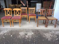 Mixed job lot of chairs £10 for the whole lot mix and match chairs for coffee shop or restaurant