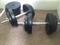2 dumbells with 20kg weight 8x2.5kg and 4x0.25kg