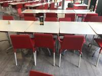 Red Stackable Chairs - Metal Legs