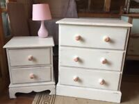 White pine chest of drawers and bed side table