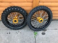 Pitbike wheels 12inch back 14 front mitchelin tyres