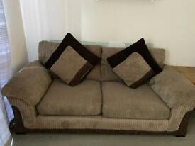 Brown cord 3 seater sofa with cushions