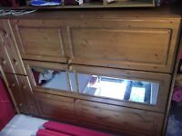 pine 6 ft mirrored wardrobe with 4 x drawers