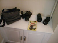 Canon EOS1000FN SLR Camera with bag, 3 lenses and user guide