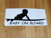 Baby On Board Surfboard Car Sign Sticker For Cool Surfer Parents VW Camper Van etc New