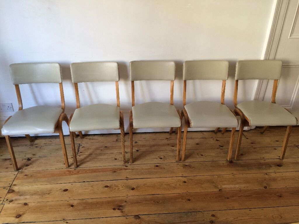 Bent Plywood Chair - Vintage mid century retro stacking chapel chairs bent plywood and vinyl x 5