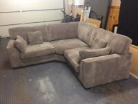 Corner sofa in grey cord