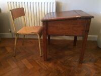 Vintage Children's School Desk & Chair