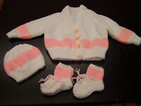 Beautiful hand knit new baby set cardigan hat and bootees white and pink
