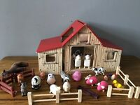Wooden play farm with animals