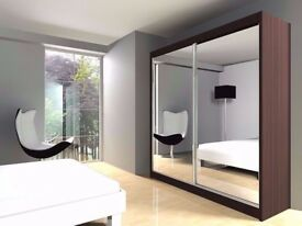 Brand New Contemporary Berlin Full Mirror 2 Door Sliding Wardrobe in Black Walnut White and Wenge