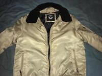 Mens Coat with detachable faux fur collar Size Large