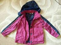 Girl's pink and navy raincoat size 7-8 years (122-128cm)