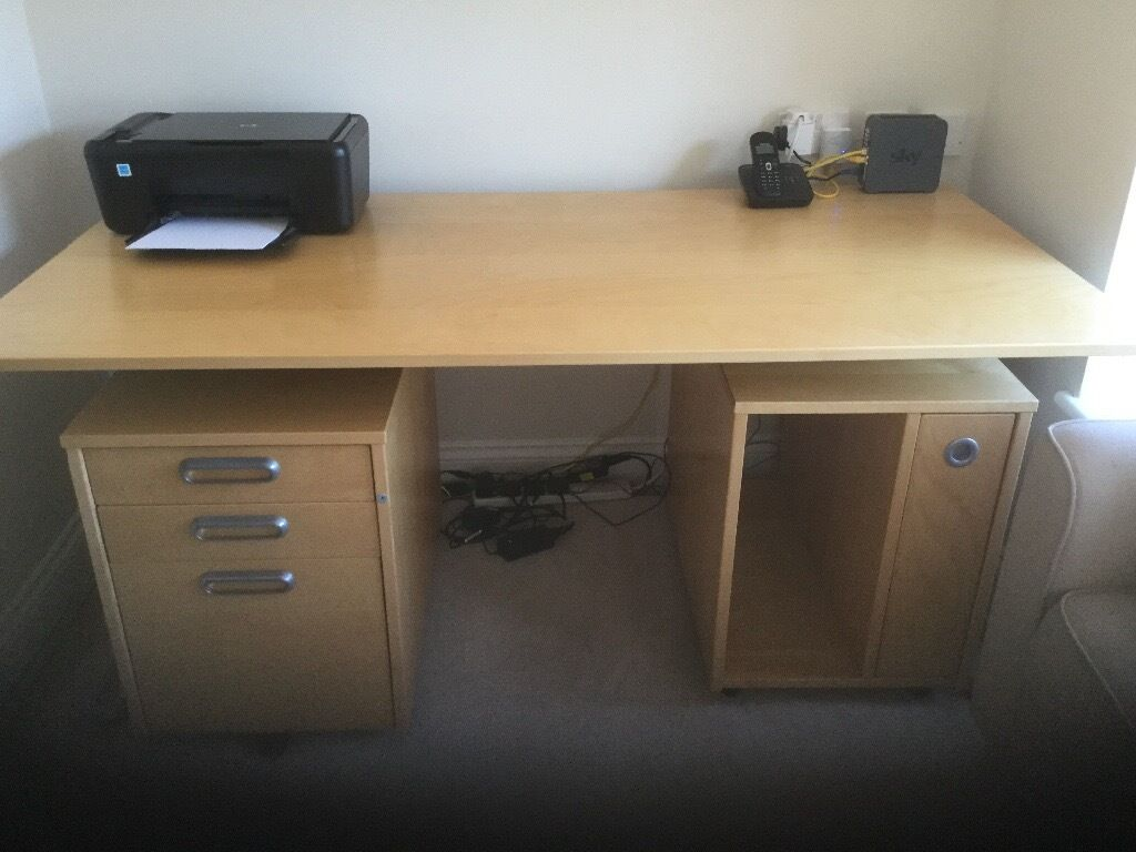 Desk with mobile drawers and filing cabinetin Cramlington, NorthumberlandGumtree - Desk in excellent condition with free standing (on castors) 3 drawers and free standing (on castors) filing cupboard. Desk size Length 160 cm width 81cm height 71cm Drawer set length 44 cm width 67cm height 60cm