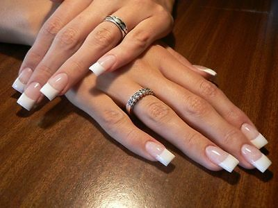 USA FAST! White French 20pc False Acrylic Nails UV Half Tips Long Art Beauty