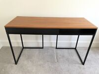 Wooden desk with draw, black metal legs