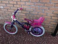 """Girls bike 16"""" with stabilisers"""