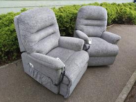 2x Sherborne Keswick Dual Motor Riser Recliner Chairs