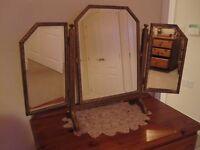 Antique folding dressing table mirror