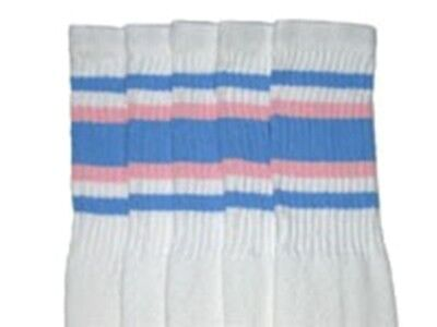 "22"" KNEE HIGH WHITE tube socks with BABY BLUE/BABY PINK stripes style 4 (22-67)  - White Knee High Socks With Blue Stripes"