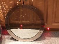 "Round 19"" mirror in polished alloy porthole frame"