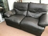 Double leather reclining sofa