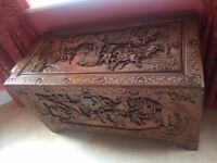 Antique oriental chinese trunk - solid wood and hand carved - excellent condition