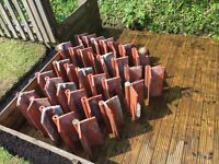 Reclaimed Victorian terracotta roll top ridge capped roof tiles/ball roof finials ridge tiles