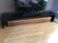 Black Glass & Wood Effect TV Unit