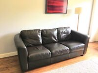 Brown leather sofa and armchair, excellent condition