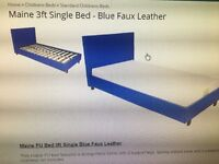Blue faux leather single bed