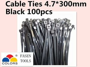 100Pcs Black Electrical Nylon Cable Zip Ties (4.7mm x 300mm) UV Stabilised