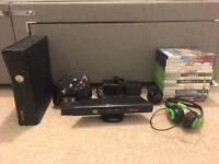 XBOX 360 Slim 250GB + Kinect + Games + Controllers + Headset