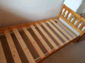Pine single bedstead with mattress