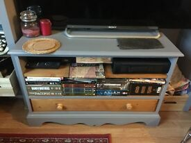 Solid wood tv media unit - pine & grey