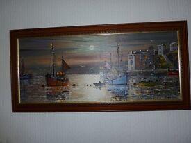 Graham Allen original oil painting Brixham harbour