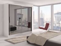 ★★ BRAND NEW ★★ 2 DOOR BERLIN SLIDING WARDROBE FULLY MIRROR WITH SHELVES AND HANGING RAILS