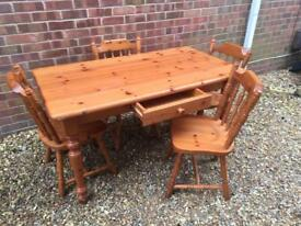 Solid pine dining table with drawer and 4 chairs