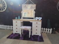 ABSOLUTELY STUNNING SOLID PINE FARMHOUSE DOUBLE DRESSING TABLE WITH STOOL AND MIRROR
