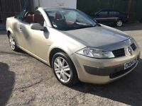 Renault Megane Dynamique Convertible, 2.0, 04/04 Reg, MOT 27th July, S/His, Red Leather, 2 Dr , Gold