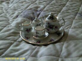 Staffordshire bone china miniature tea set. Blue waters of england